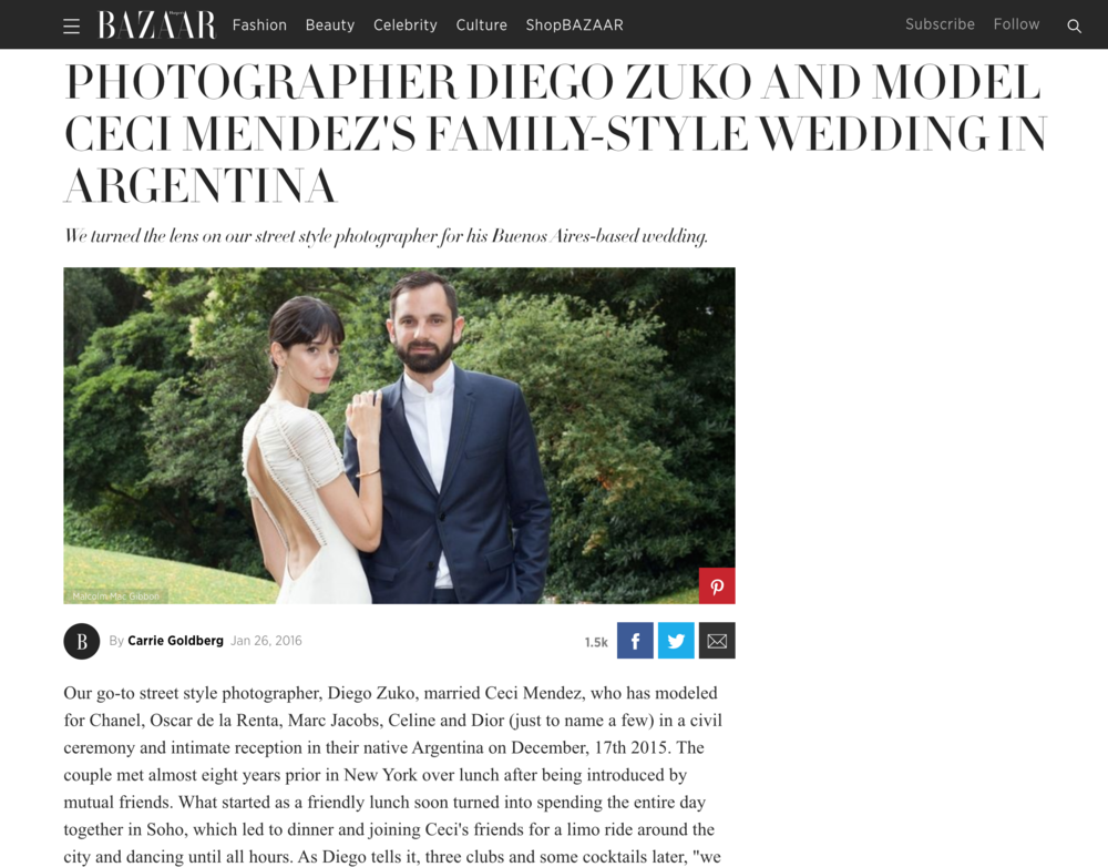 Our Wedding featured in Harper's Bazaar US - Click here to see the full coverage by Carrie Goldberg