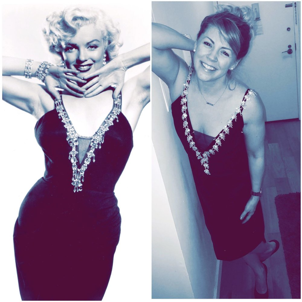 Marilyn Monroe in an un-filmed gown worn for a publicity shoot.                                                      Erin Sullivan in a fitting for a gown inspired by Marilyn's