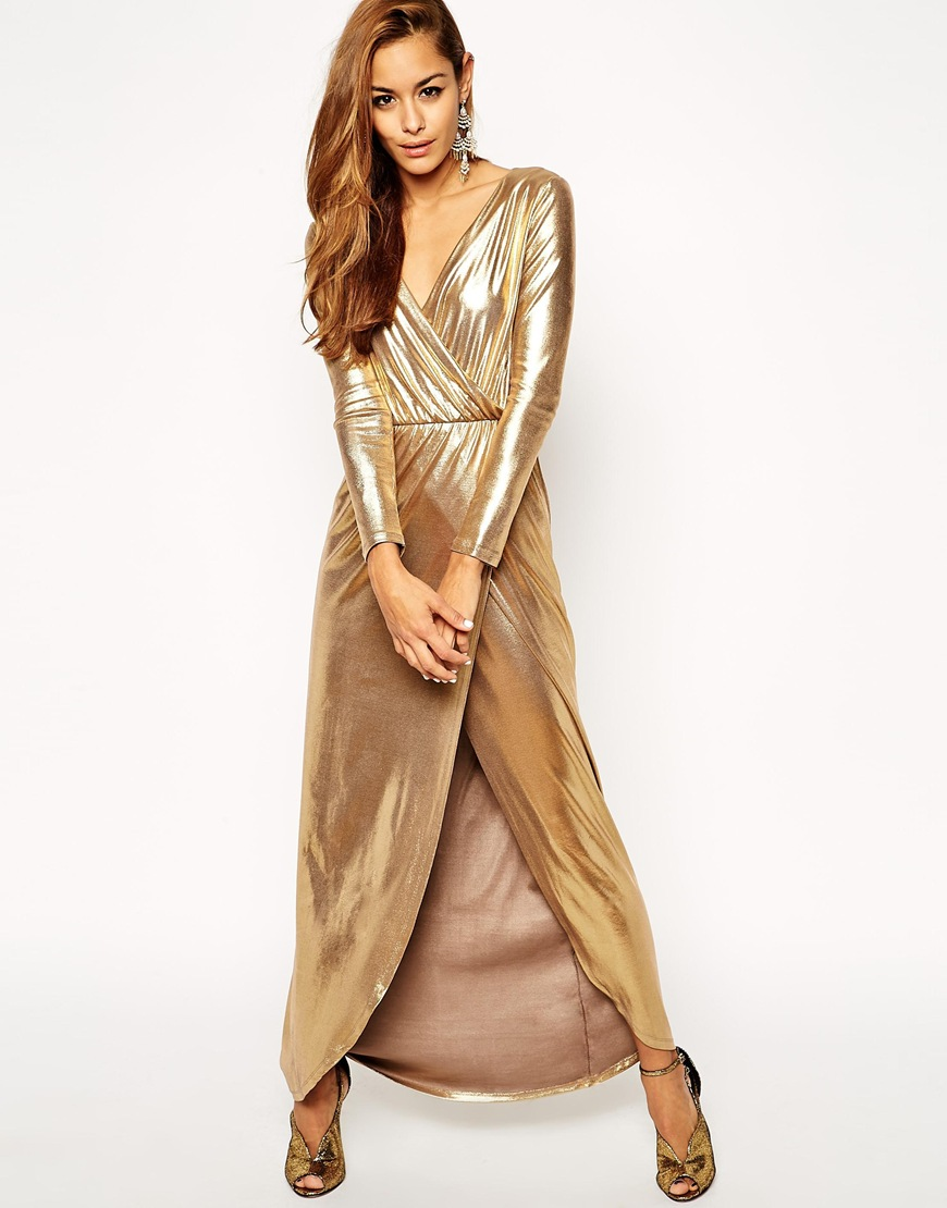 Gold Wrap Maxi Dress ASOS $104.23