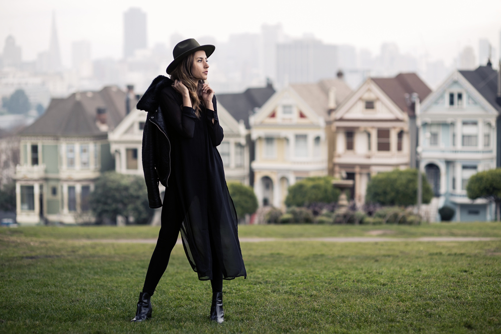 In front of the Painted Ladies in Alamo Square