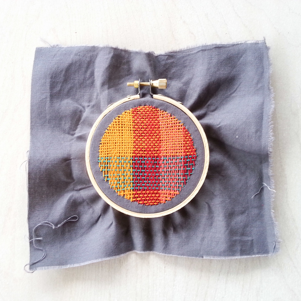 woven darning sample