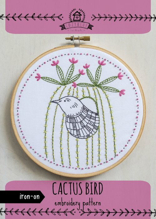Cactus Bird Iron On Embroidery Pattern Cozyblue Handmade