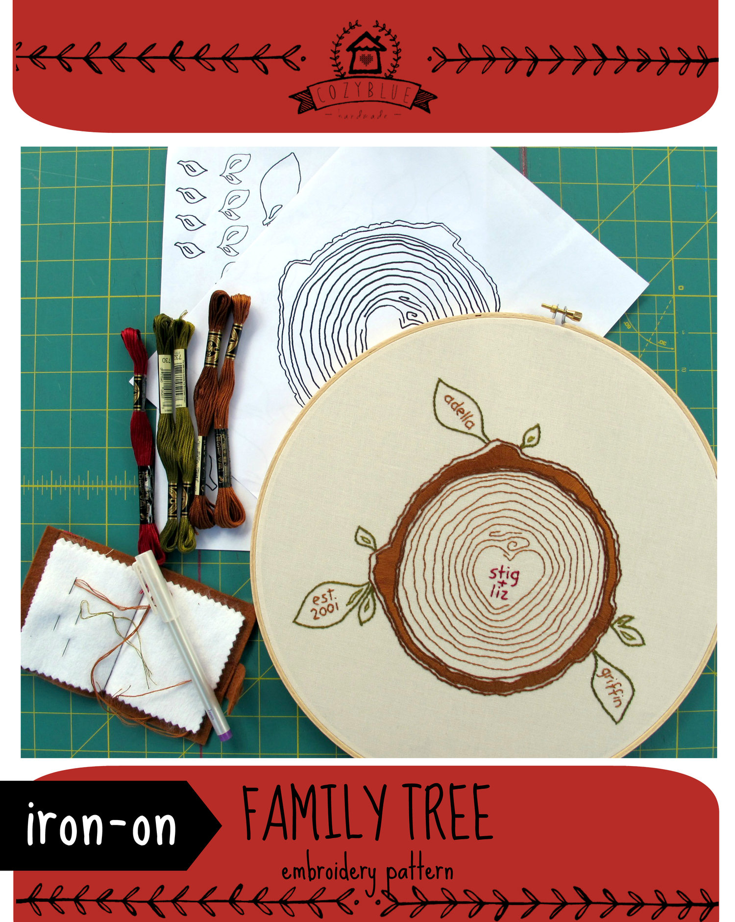 Family tree iron on embroidery pattern cozyblue handmade family tree iron on embroidery pattern bankloansurffo Choice Image