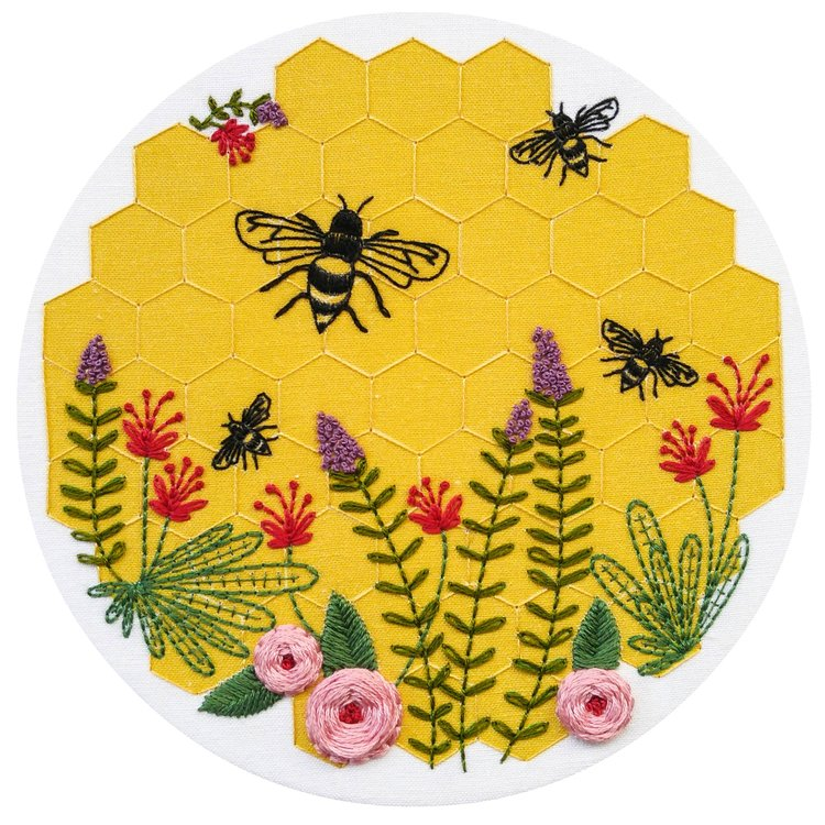 Bee Lovely Pre Printed Fabric Embroidery Pattern Cozyblue Handmade