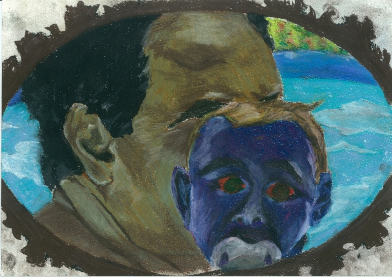 THE FATHER AND THE SON   SOFT PASTEL AND CHALKS ON PAPER, 2011  30 x 21 CM
