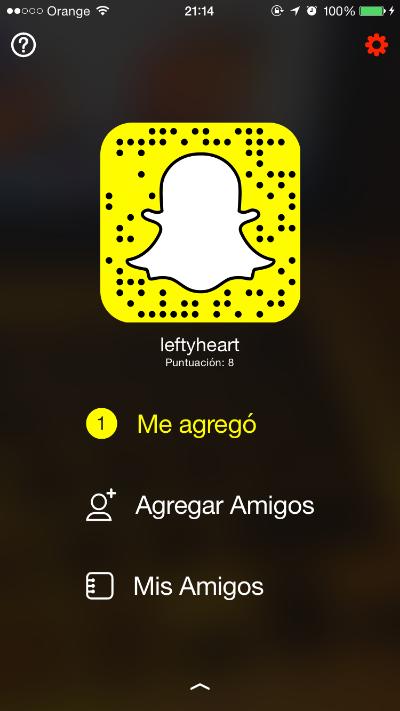 Mi perfil en Snapchat (leftyheart)