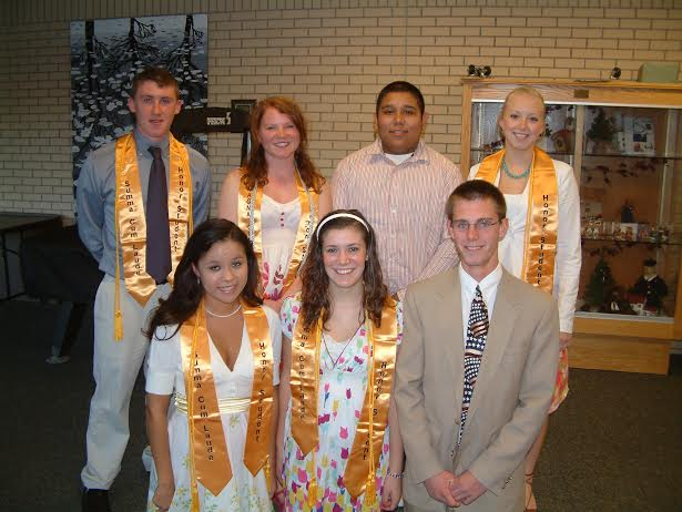 The first Northport Promise scholarship recipients - the Northport High School Class of 2008.  Back row, left to right Ryan, Octavia, Eddie and Sophia.  Front row, Rose, Betsy and Basil.  Photo by Doug Drummond.