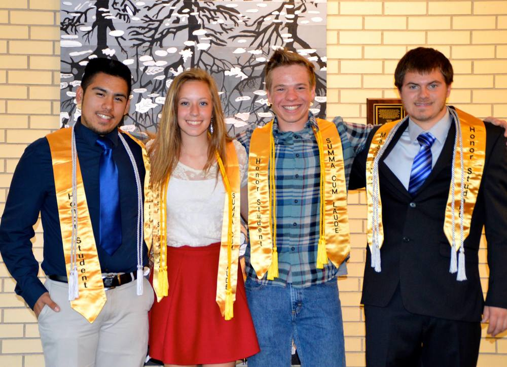 2015 Qualified Northport Promise Scholarship Graduates! LEFT TO RIGHT: FABIAN HERNANDEZ, AUTUMN HUCK, ANDY SLEDER, DEVON DEVRIENDT. Photo by Dan Duffiney