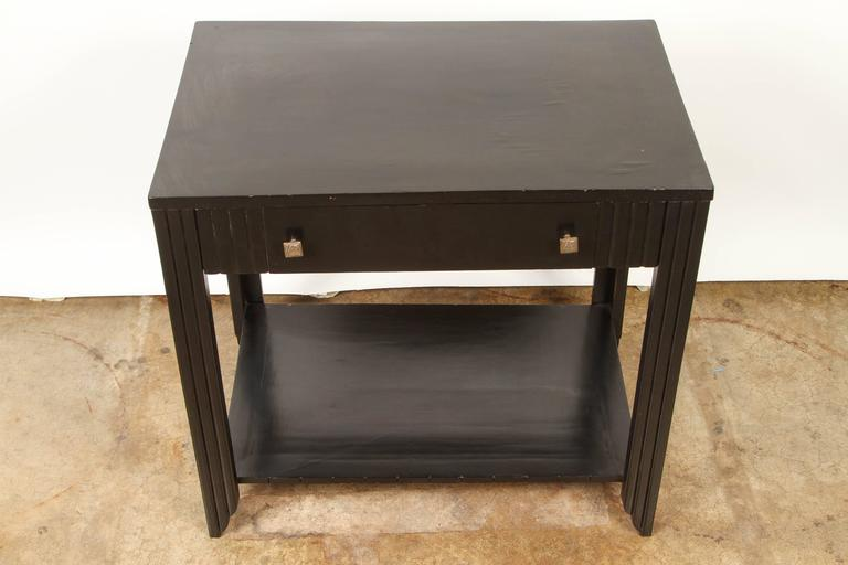 Art Deco Black Stained Oak Table With Drawer