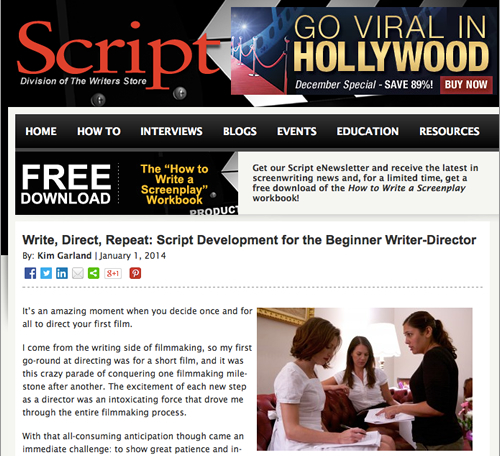 "Script magazine column, ""Write, Direct, Repeat"""