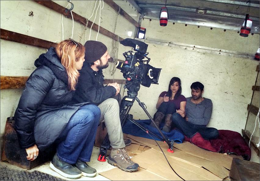 L to R: Kim Garland (Dir); Ian Choplick (DP); Actors Elena Hurst & Samrat Chakrabarti