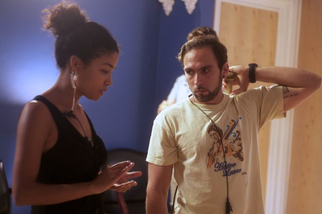 "Producer Violetta Ekpe on the set of ""Deal Travis In"" with 1st AD Alejandro Ramia. 