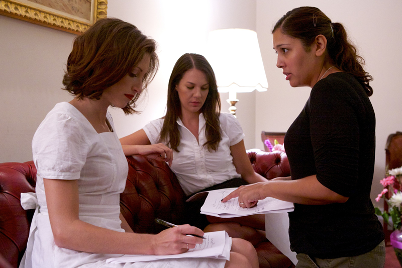 "Christina Brucato, Erin Fritch and Kim Garland on the set of ""Vivienne Again"" 