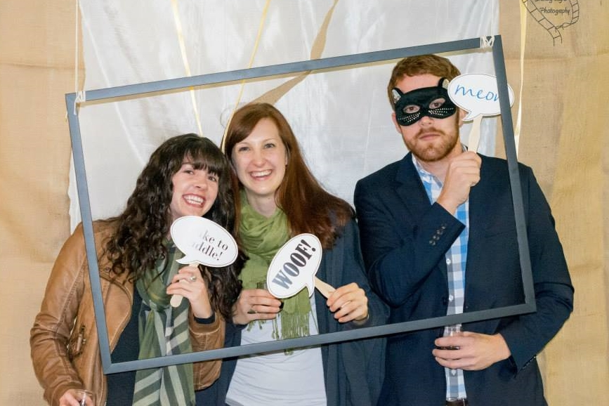 Members Ellyn Suga, Abby Berger and Kyle Jameson unleash their inner pets at the Sip...Stay...Sip fundraising event.