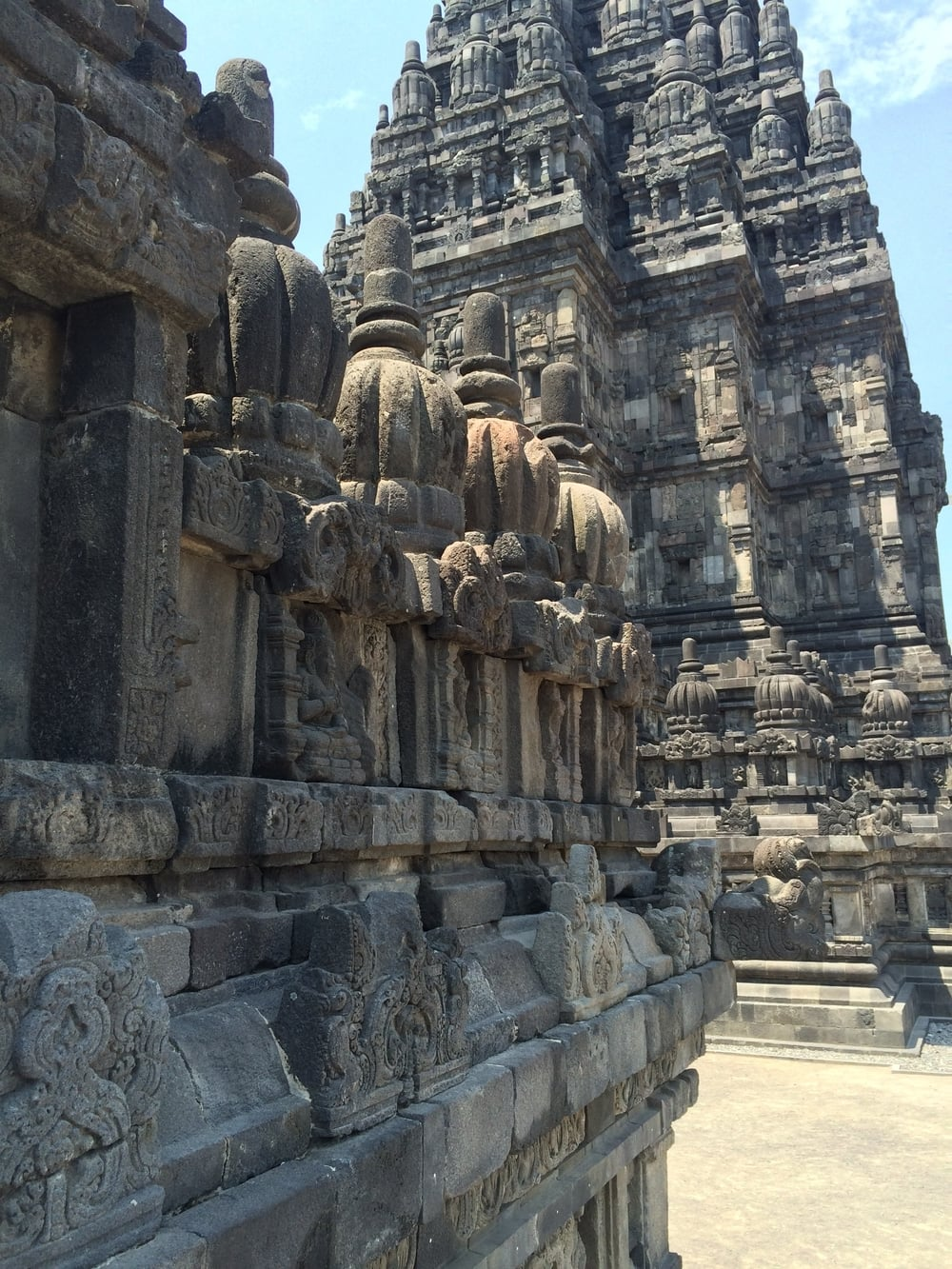 Prambanan was built in 800 BC. It has been struck by 2 major earth quakes, so many parts have been lost and many of the smaller temples are being restored