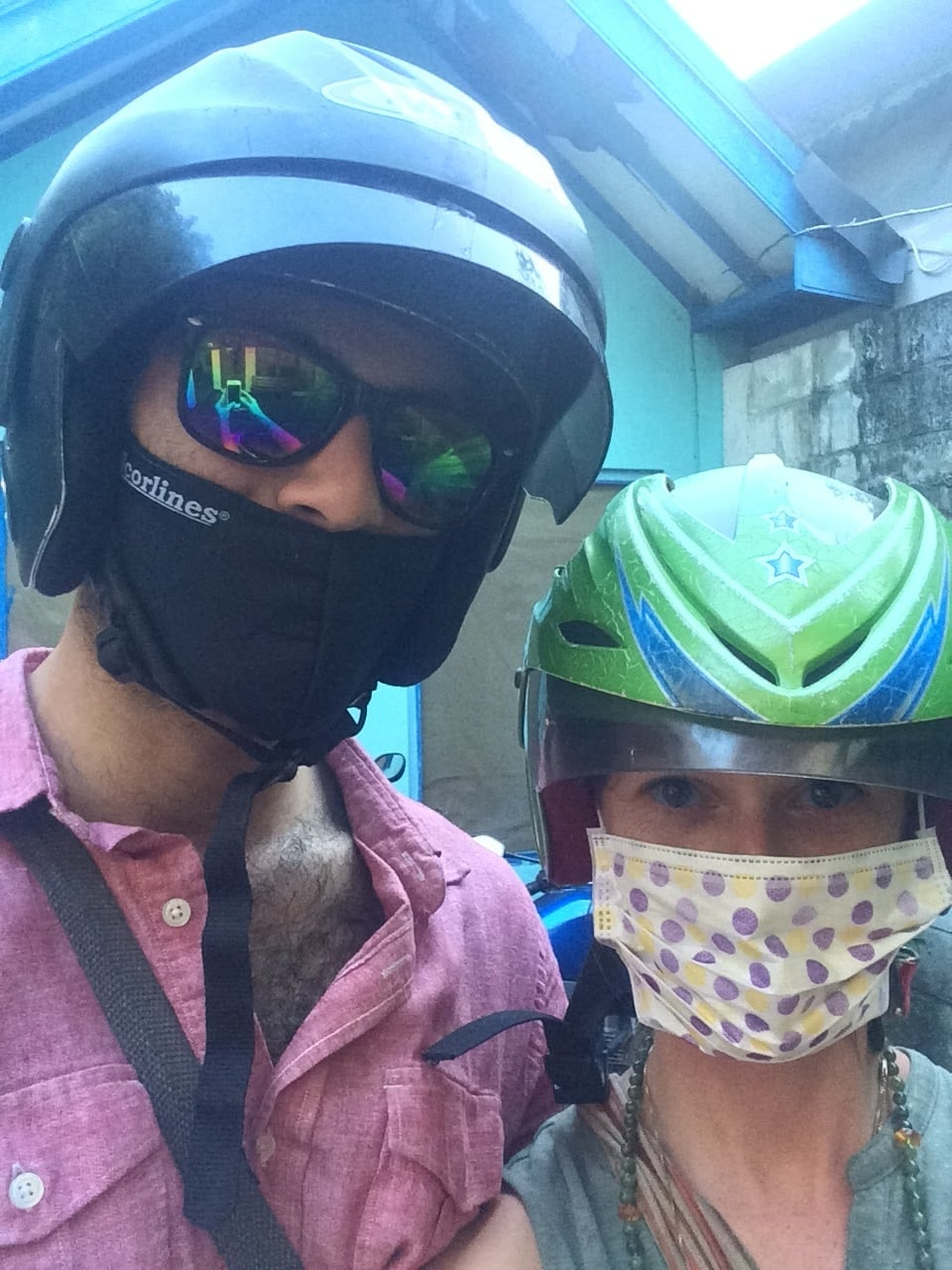 We bought masks after discovering the exhaust and just... stuff that flies at you while scootering around.