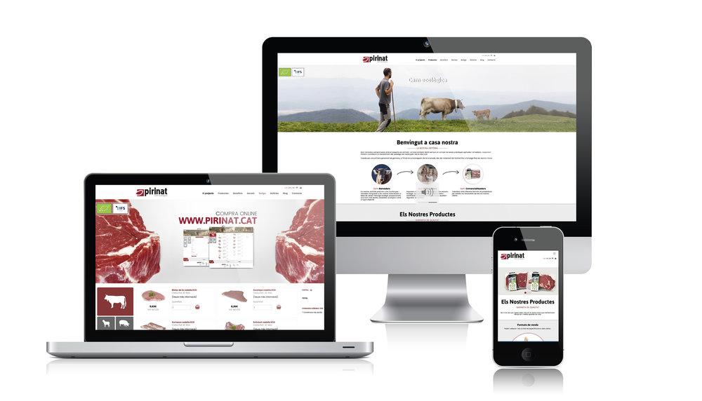 Disseny web, programació, redacció de continguts i fotografia per l'empresa Pirinat, ramaders compromesos amb el respecte als animals i al medi ambient.