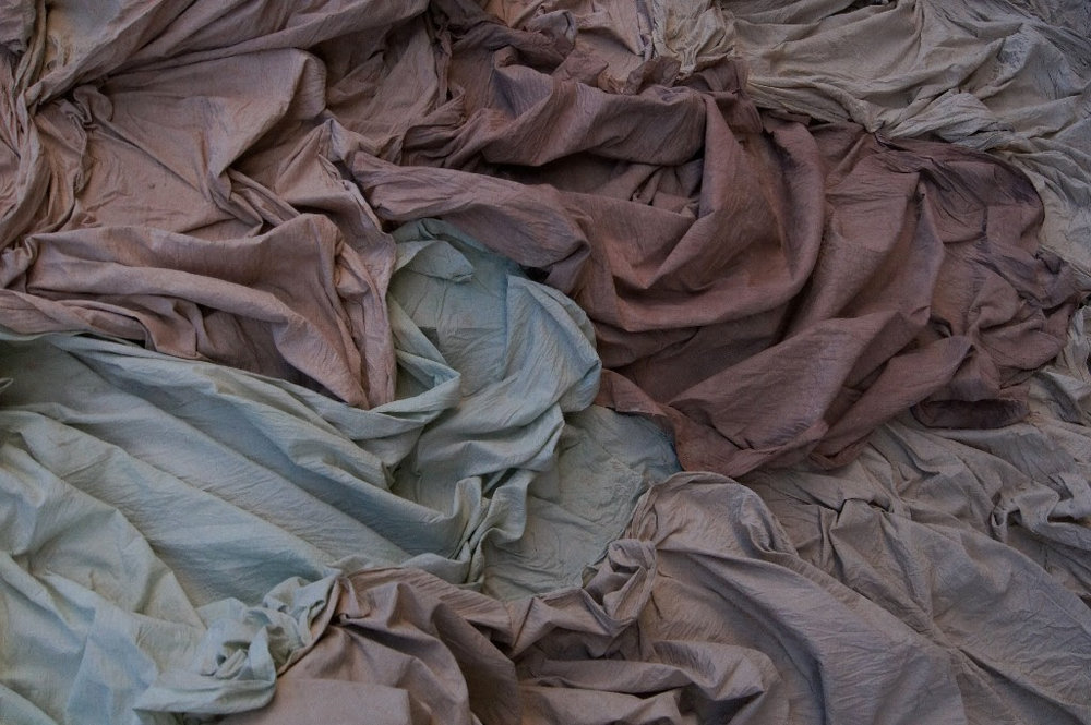 Jane Gordon,  Gathering,  cotton stained with minerals, clay slip