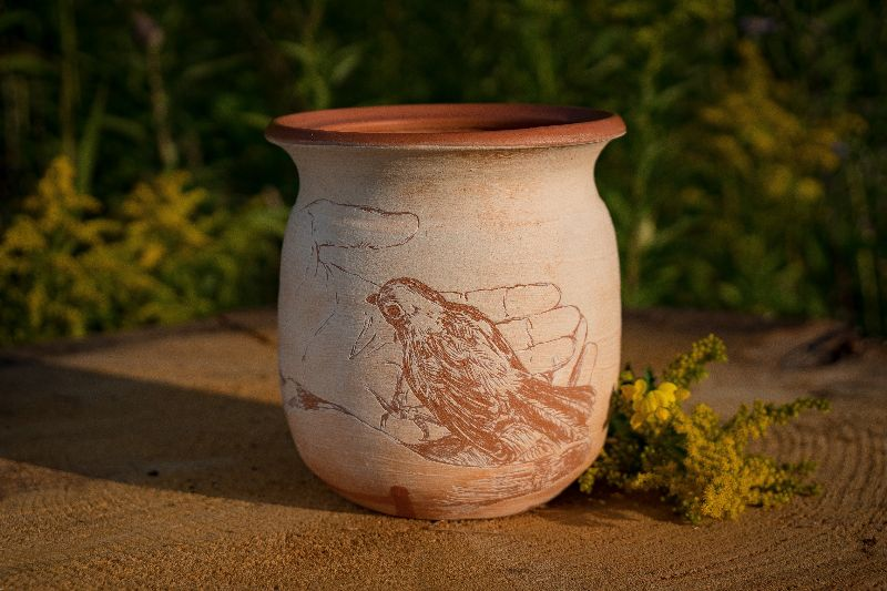 Jar by Rebecca Meszler, hand-processed Yooper clay from the  Visitor Center Artist Camp