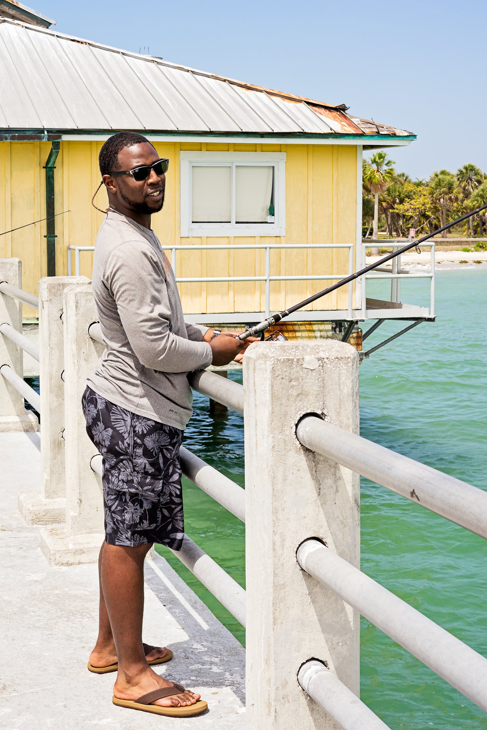 Quay Moncrief, a fisherman from Montgomery, Alabama, out fishing with his finance and her family. While Quay did not catch a single fish, he still enjoyed his time at the Fort Desoto pier. He said he fell in love with the area and would consider moving down to the St Petersburg, Florida area.