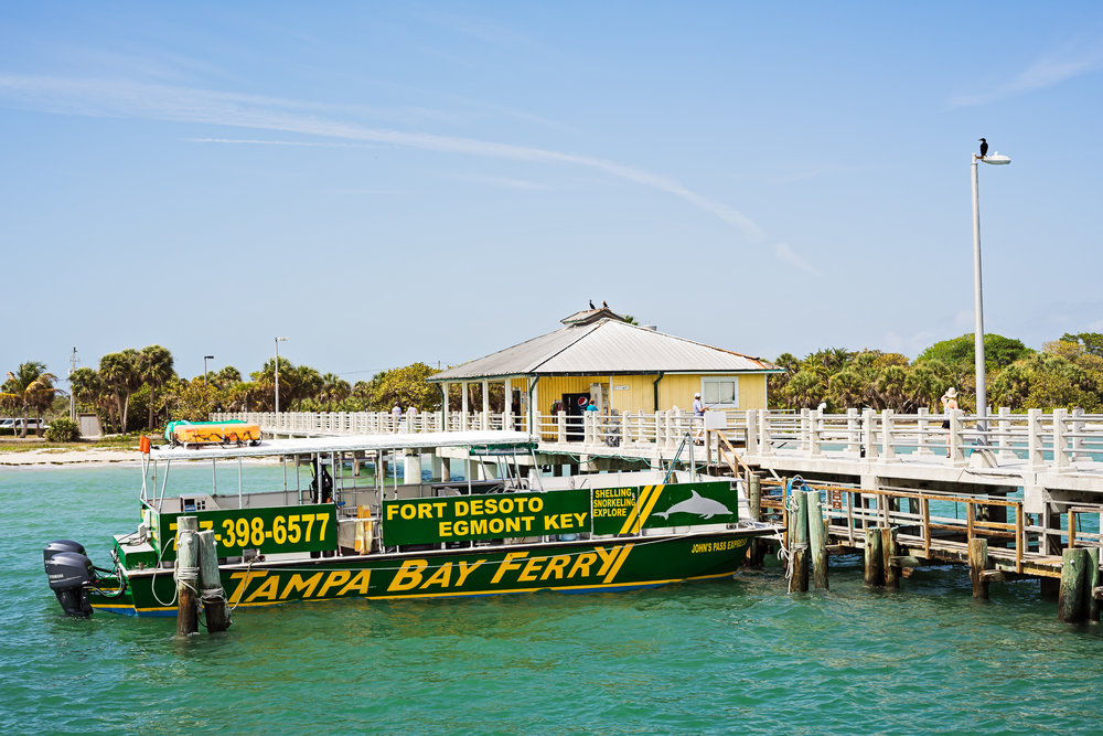 The Egmont Key ferry transports passengers from the Bay Pier at Fort DeSoto Park to Egmont Key State Park. Times are dependant on the season so be sure to check out their website for more information. Roundtrip is $20 per person and reservations are highly recommended. The trip takes approximately 15 minutes. Egmont Key is the location of Fort Dade, an old fort dating back to the Spanish American war era. The island offers great shelling, swimming, and opportunities to see wildlife.