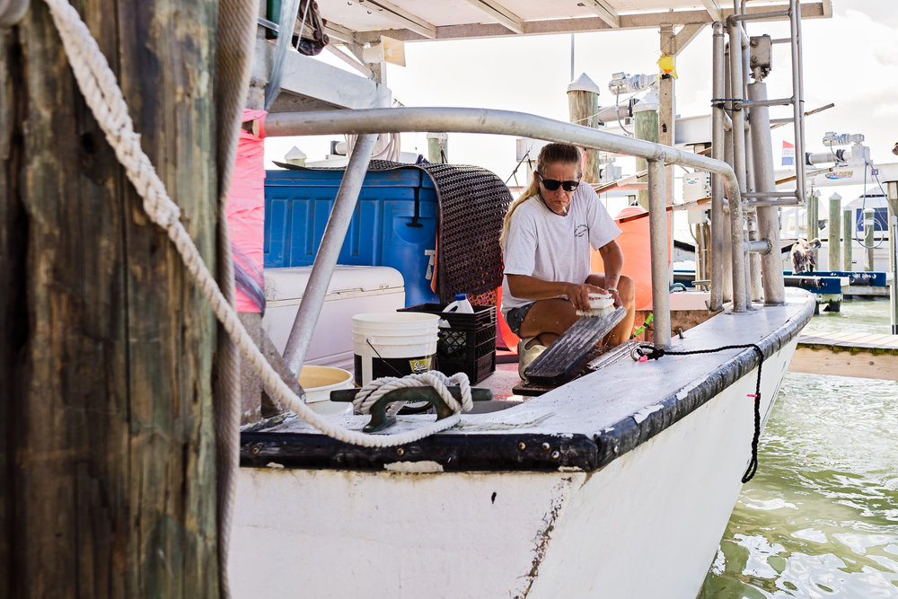 A crew member of the Miss Ruby scrubbing down the boat after the catch has been unloaded.