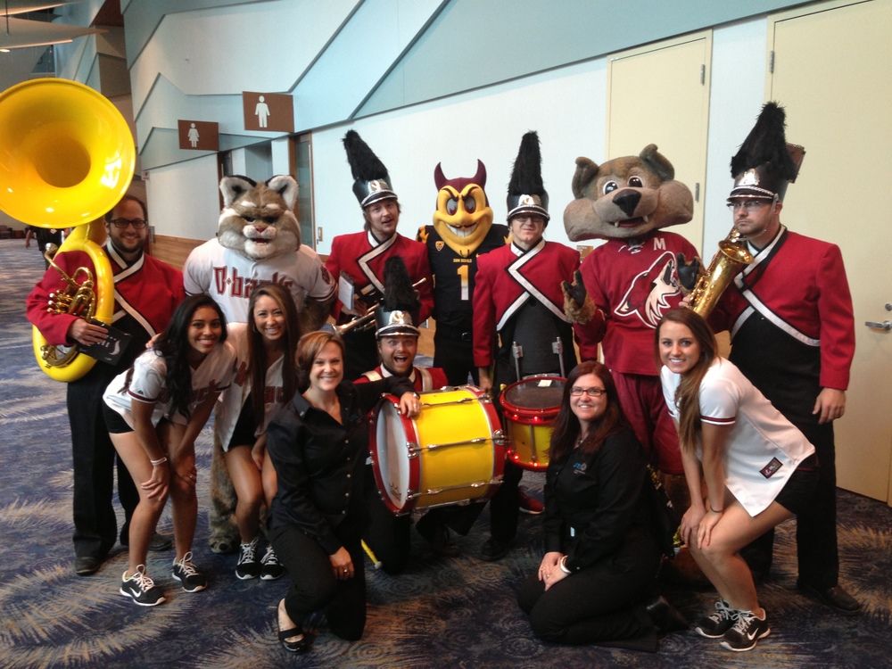 UTC Trade Show Opening Pep Band Mascots.JPG