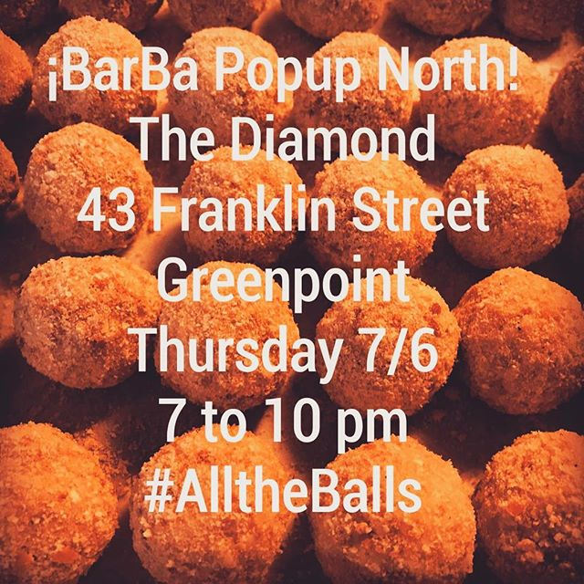 Friends! If you find yourself wandering north this eve, pop into the @barba_bk popup @diamondgpt 7 to 10pm and try some #italianish snacks from Ma, Pa, & Uncle Rosco. #barbabk #brooklyn