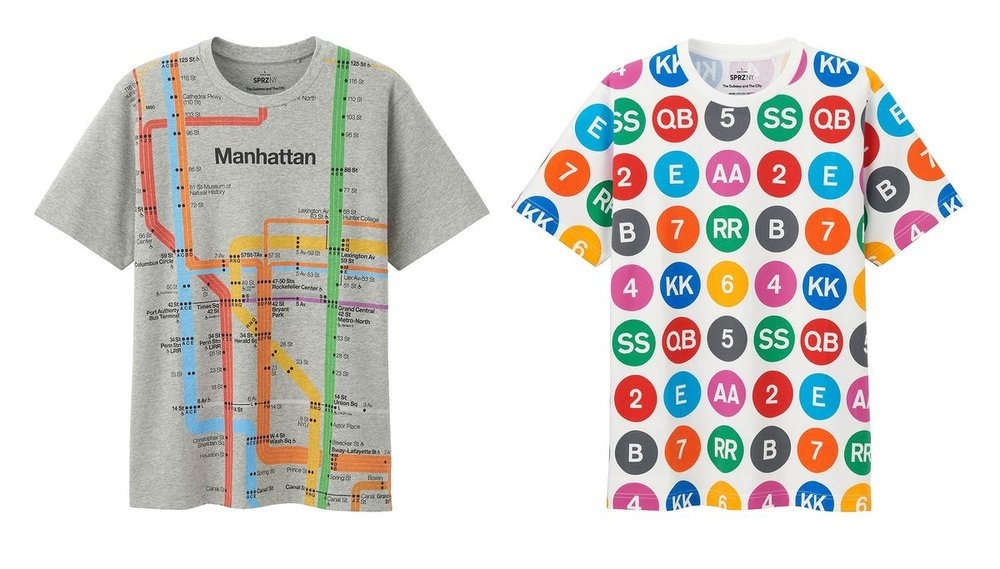 T-shirts inspired by Vignelli's iconic designs for the New York City subway.