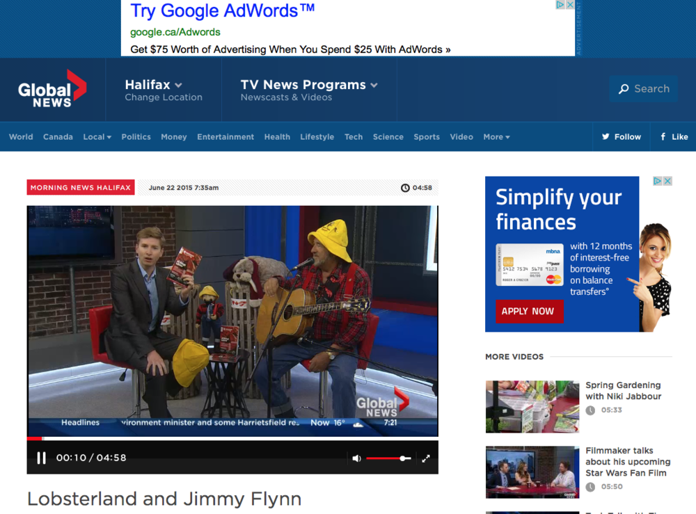 Jimmy Flynn on Global News shares as wonderful song.