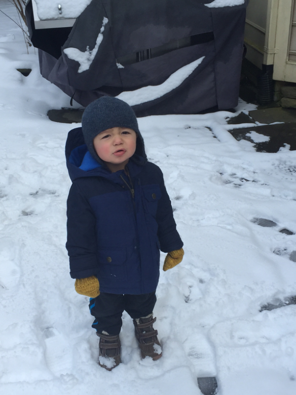 It snowed and JJ was thrilled.