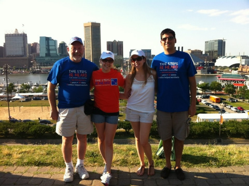 Baltimore 2012: Posing with the family atop Federal Hill, ready to walk for the Crohn's and Colitis Foundation