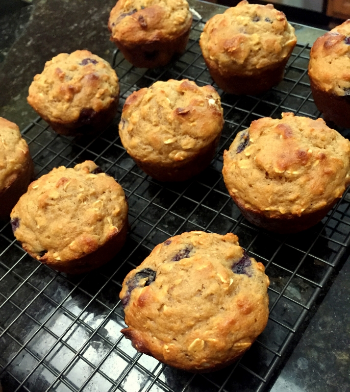 Healthier oatmeal blueberry muffins