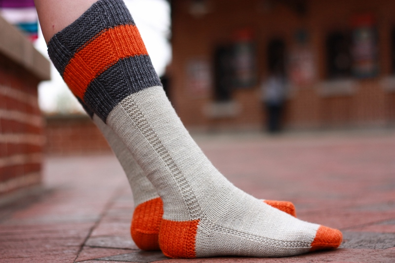 Eutaw Street socks, part of the Charm City Knits knitting pattern collection by Kristen Jancuk, MediaPeruana Designs