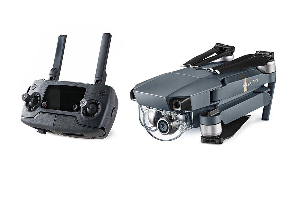 Dji Mavic Pro - 27 minutes (no wind at a consistent 15.5 mph (25 kph))8 mi (13 km, no wind)Speed 65 KM/HGimbal 3-axisGPS / GLONASSVideo resolution 4KCamera resolution 12MP