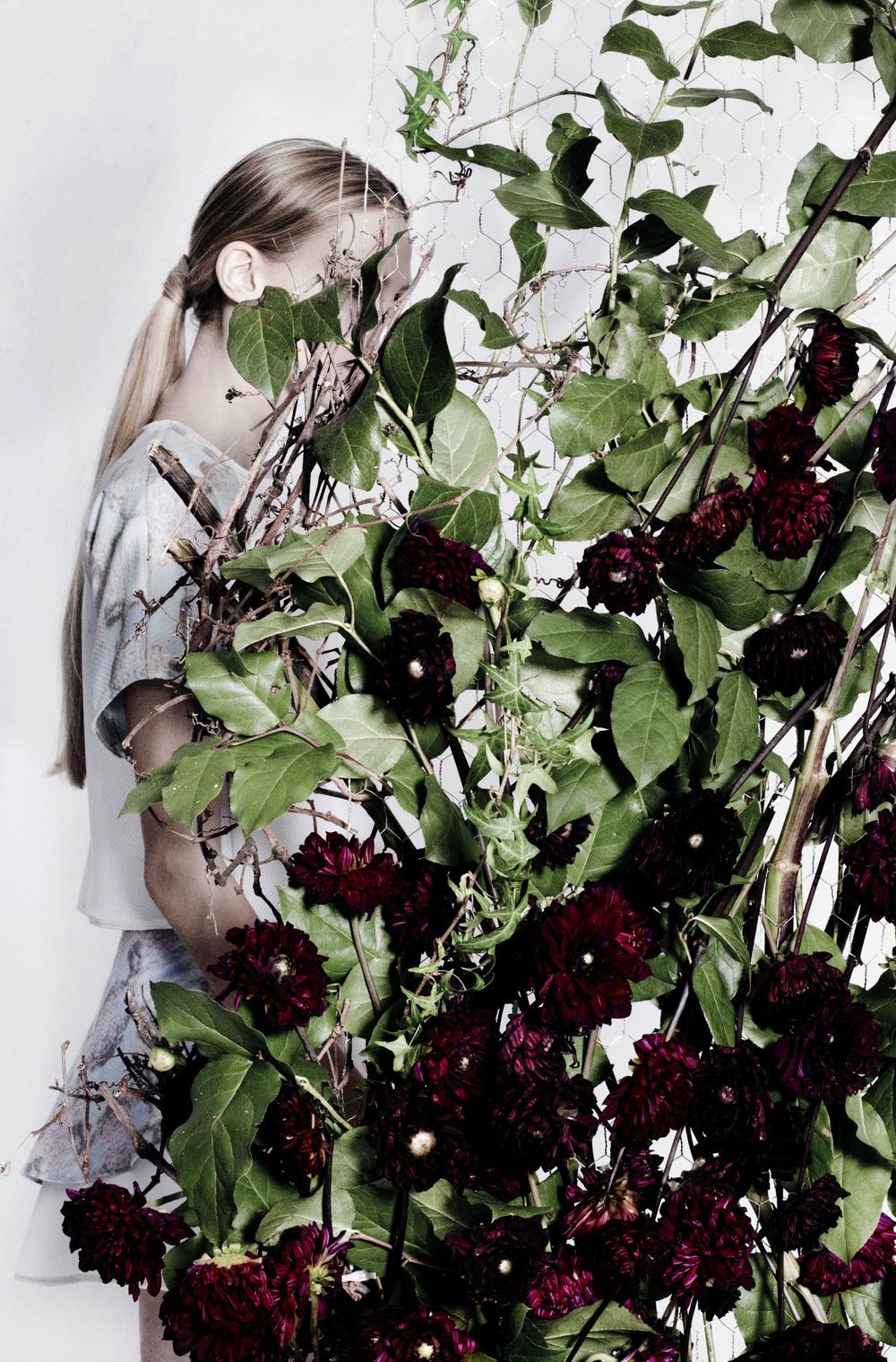 Photographer: Stefani Pappas       Model: Lauren@fusion        Production: Gabrielle Seo        Stylist: Desmond Zheng           Hair & Make up: Miguel Bautista     Floral Design: Marcela Bonacio       Set Design: Luc Trentesaux