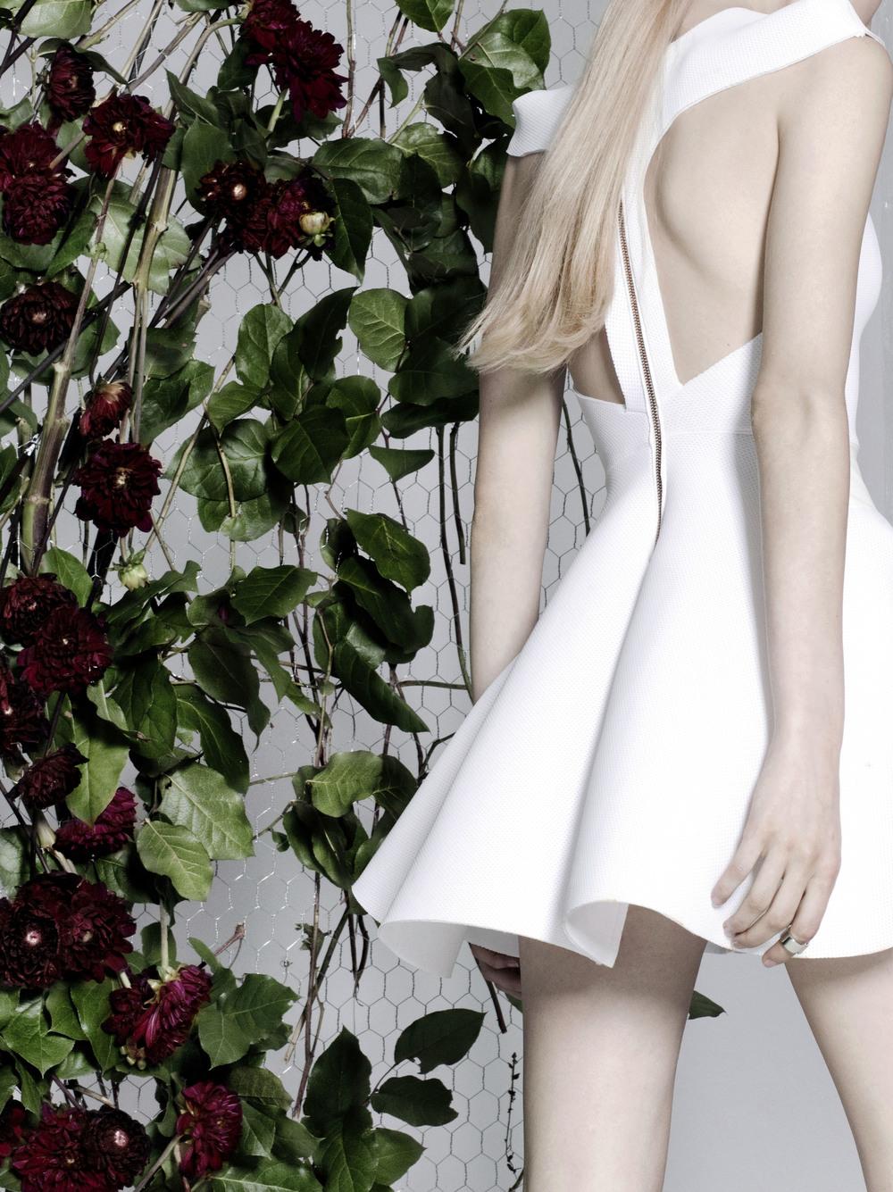 Photographer: Stefani Pappas       Model: Lauren@fusion        Production: Gabrille Seo        Stylist: Desmond Zheng           Hair & Make up: Miguel Bautista     Floral Design: Marcela Bonacio       Set Design: Luc Trentesaux