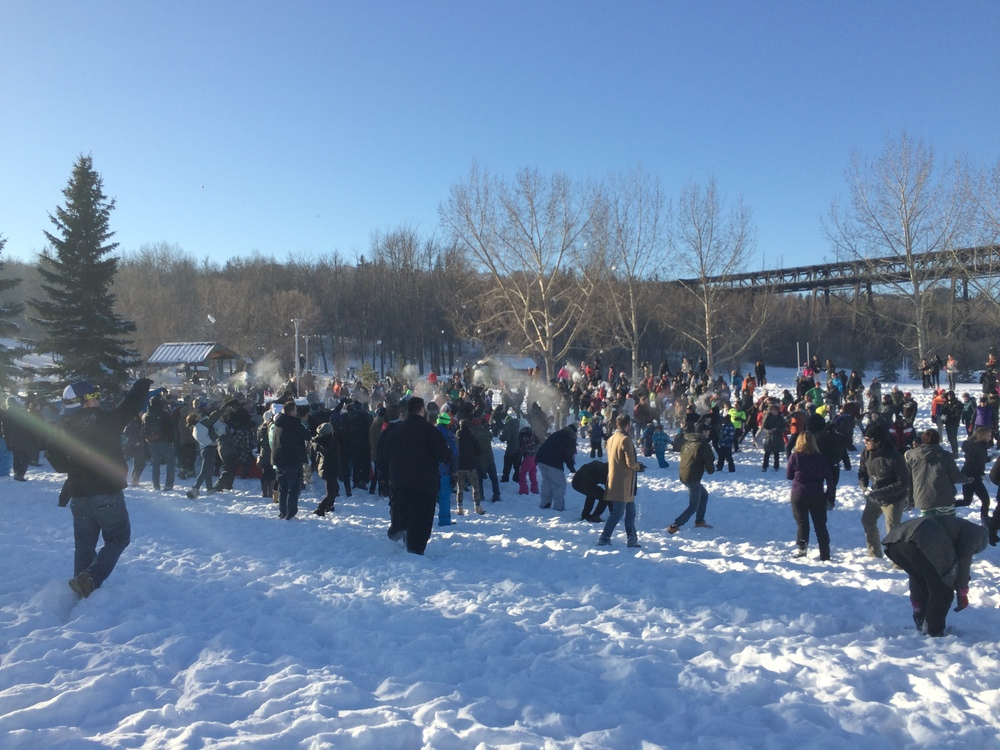 Edmonton descends into snowy anarchy, at Sunday's 'YegSnowFight' .