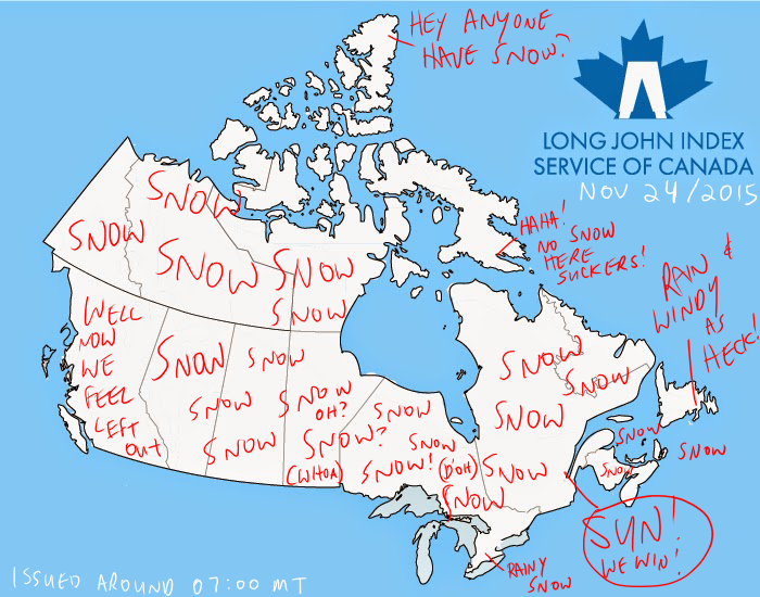 Canada Weather Map And Long John Index Summary November - Canada map city names