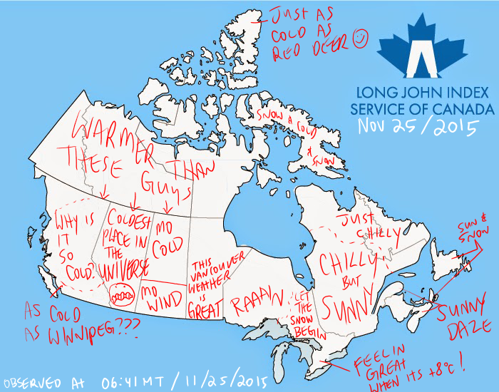 Canada Weather Map And Long John Index Summary For Nov 25 2015