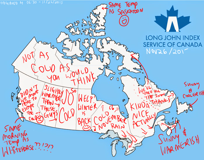 Manitoba Weather Map Canada Weather Map and Long John Index Summary   Nov 26, 2015