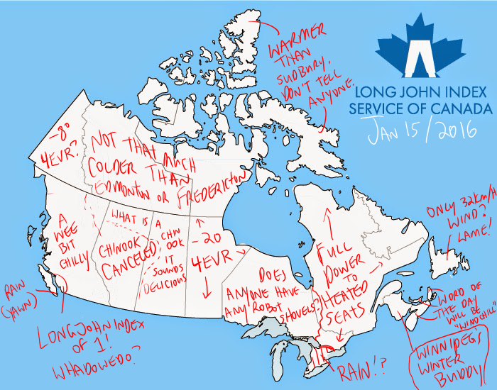 Canada Weather Map Temperature.The Long John Index Service Of Canada