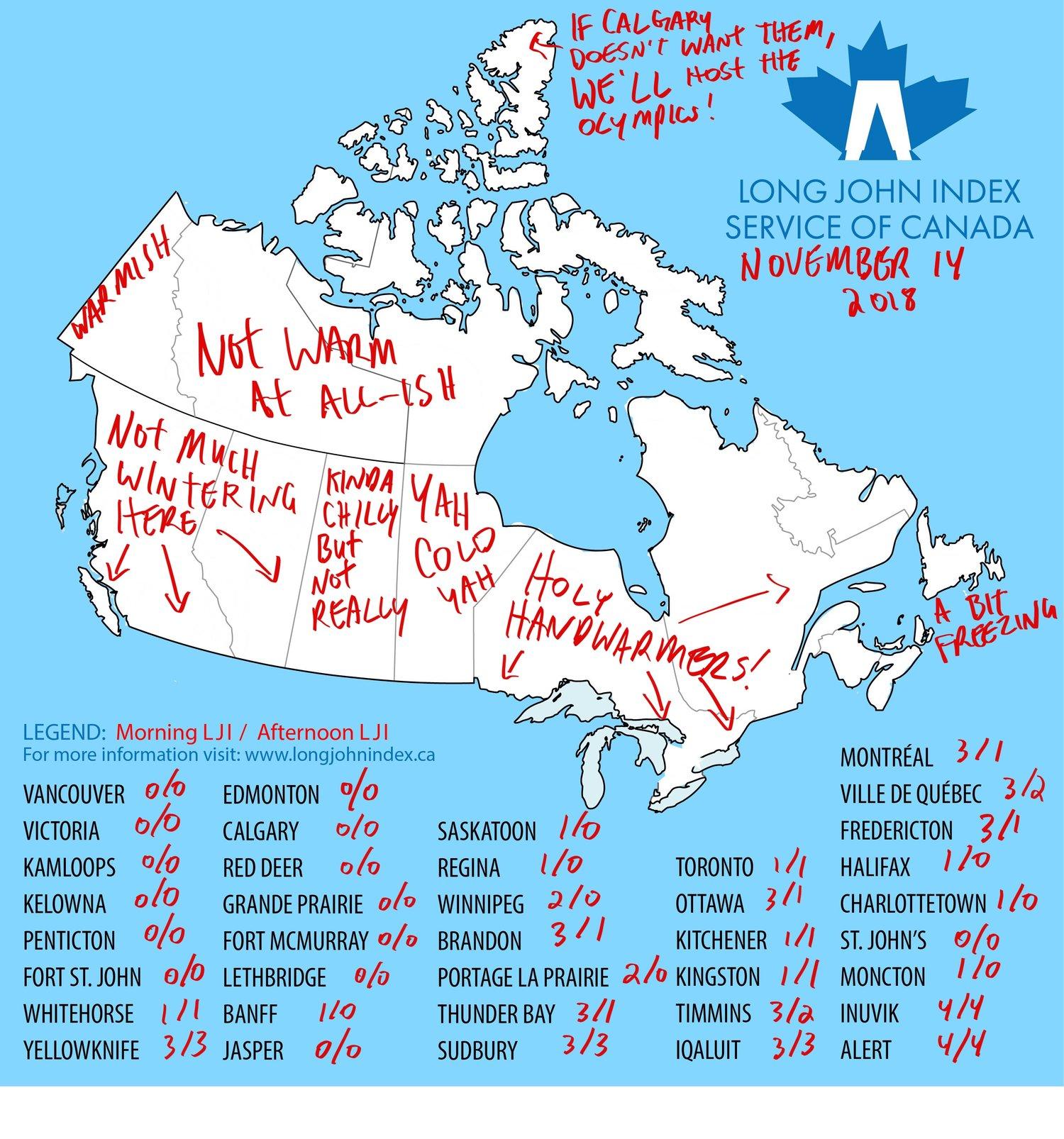 Long John Index Weather Map November 14 2018 The Long John Index