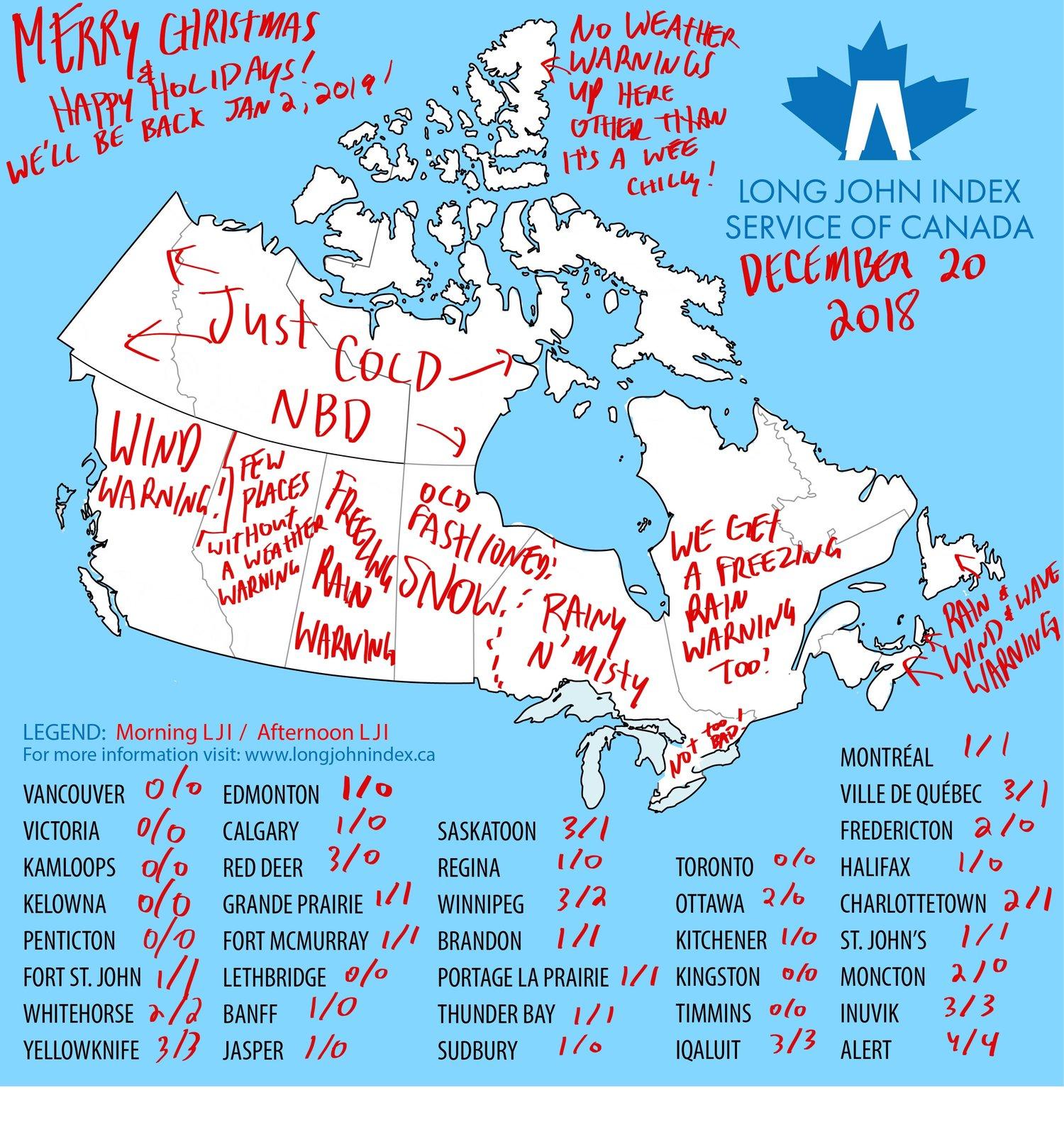 Long John Index Weather Map For December 20 2018 The Long John