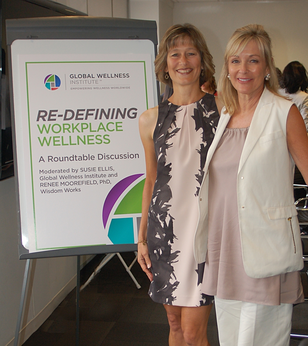 Roundtable moderators Renee Moorefield, PhD (Wisdom Works) and Susie Ellis (Global Wellness Institute)