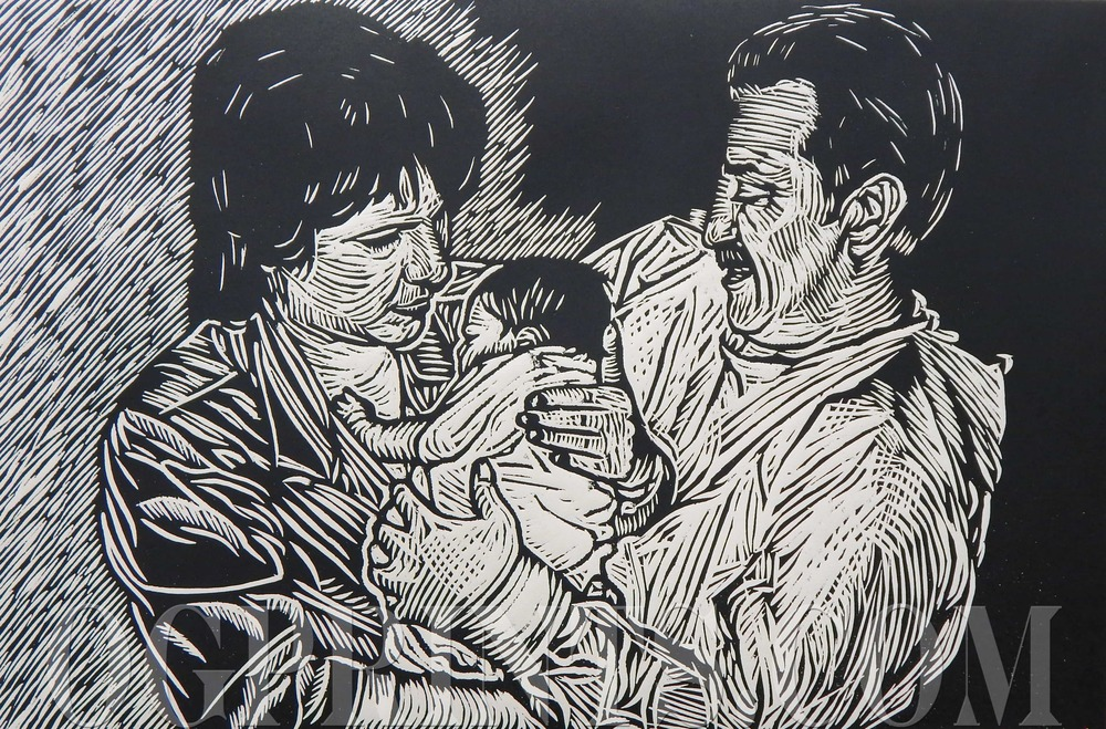 """Family""   Relief 16"" x 22"" Artist Proof 2014"