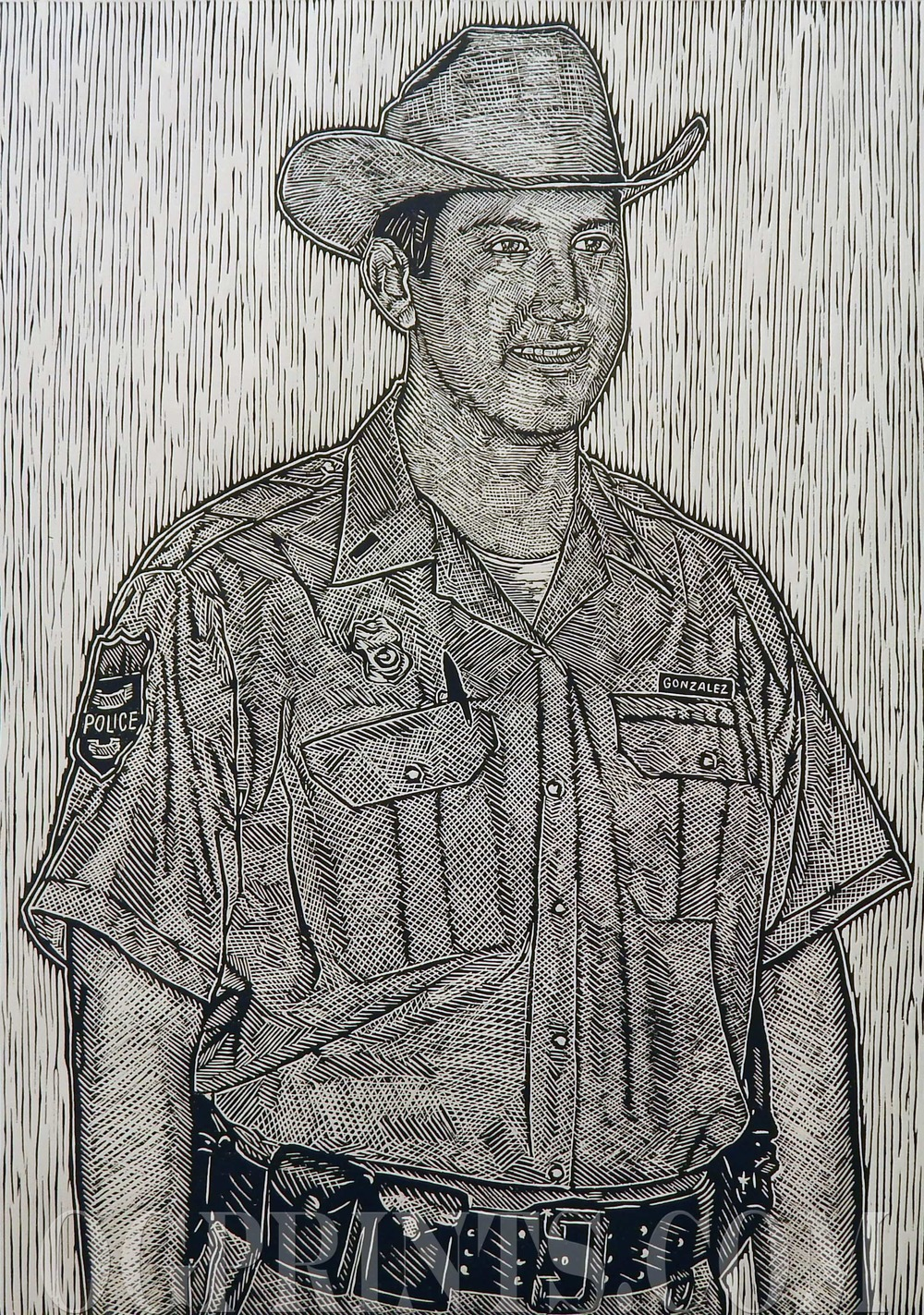 """Lawman""   Relief 25"" x 33"" Edition of 8 2014"