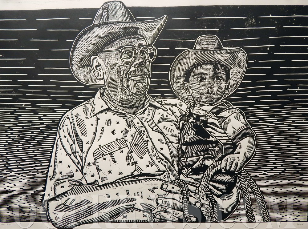 """Ranch Hands""   Relief 47"" x 35"" Artist Proof 2013"