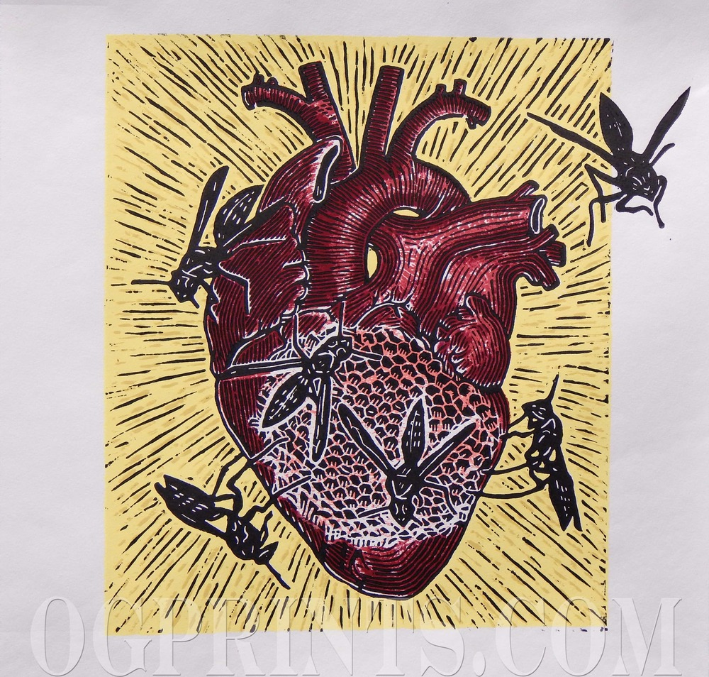"""Heartache""   Relief & Serigraph 13 1/2"" x 15 1/2"" Edition of 11 2014"