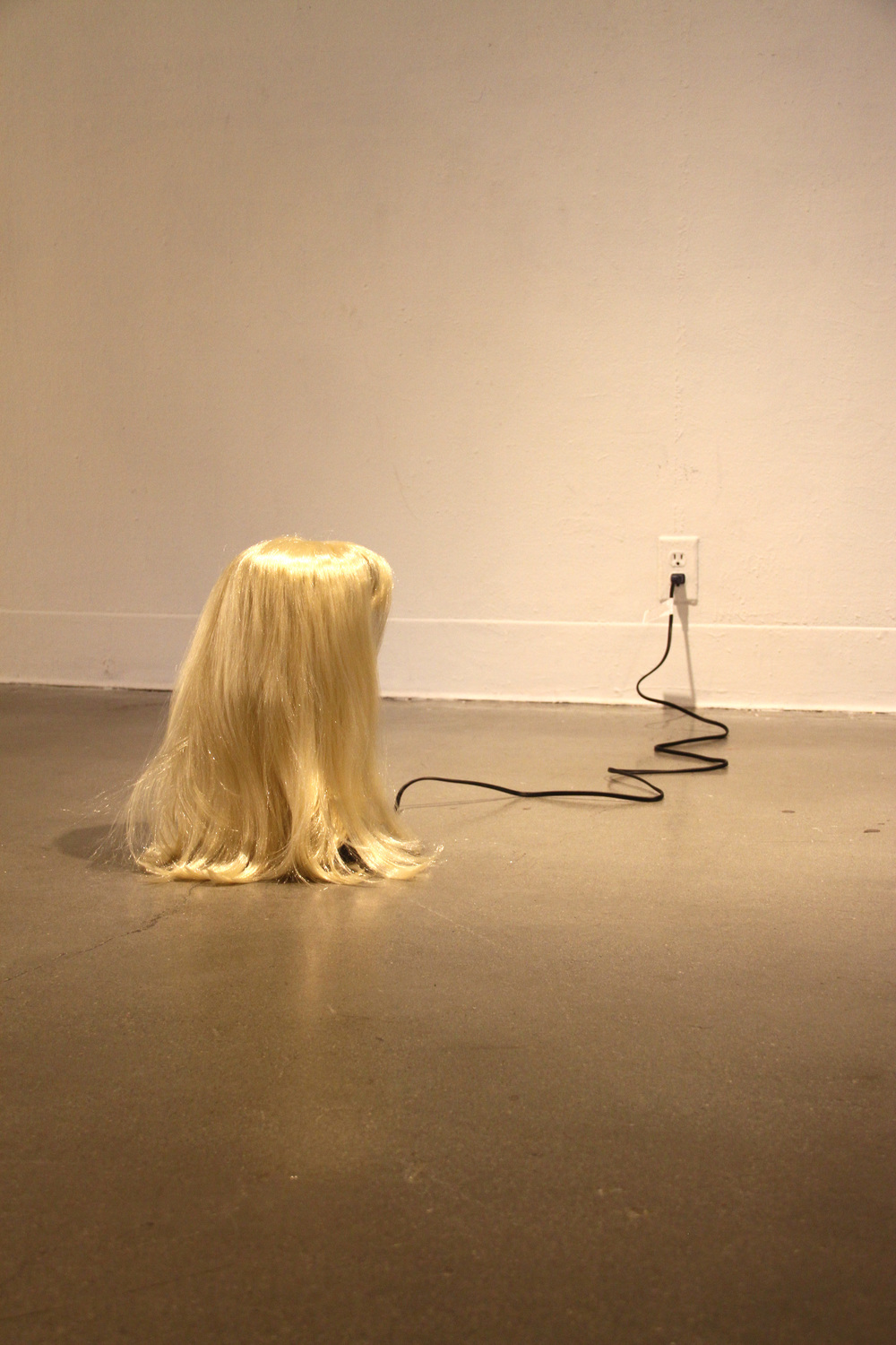 You've Got Your Good Things, and I've Got Mine , 2013   blonde wig, oscillating fan